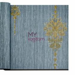 Decowall Armada Crown 16m2 - Damask Desen Yerli Duvar Kağıdı Altin Desenli Mavi Crown 4401-01