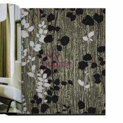 Decowall Armada Crown 16m2 - Tasarim Yerli Duvar Kağıdı Gri Siyah Yeşil Yaprak Desenli Crown 4406-01