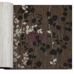 Decowall Armada Crown 16m2 - Tasarim Yerli Duvar Kağıdı Yaprak Desenli Koyu Kahve Crown 4406-02