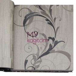 BB Ainos 16,5 m2 - Çiçekli Bej Siyah Vinil Duvar Kağıdı Ainos 6539-2