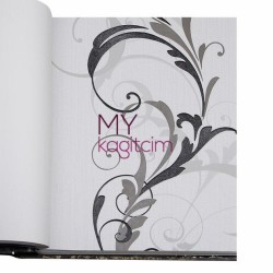 BB Ainos 16,5 m2 - Çiçekli Gri Siyah Vinil Duvar Kağıdı Ainos 6539-1