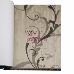 BB Ainos 16,5 m2 - Çiçekli Krem Siyah Vinil Duvar Kağıdı Ainos 6539-3