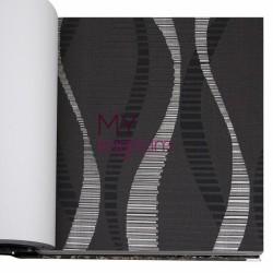 BB Ainos 16,5 m2 - Çizgi Geometrik Siyah Vinil Duvar Kağıdı Ainos 6528-3