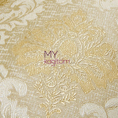 Damask Desen Yerli Duvar Kağıdı Altin Dore Simli Crown 4412-02