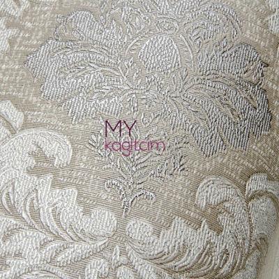 Damask Desen Yerli Duvar Kağıdı Simli Acik Gri Crown 4412-03