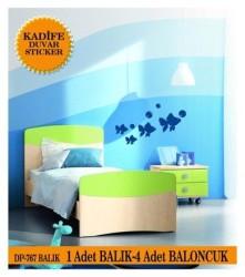 Coart Kadife Çocuk Odası - KADİFE DUVAR STICKER BALIK 4 ADET BALIK 4 ADET BALONCUK