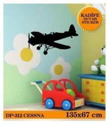 Coart Kadife Çocuk Odası - KADİFE DUVAR STICKER CESSNA 135x67 cm