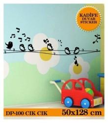 Coart Kadife Çocuk Odası - KADİFE DUVAR STICKER CİK CİK 50x128 CM