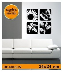 Coart Kadife Pillar - KADİFE DUVAR STICKER SUN 24x24 CM