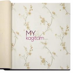 Decowall Bossini 10 m2 - Sarı Çiçekli Sarmaşık Vinil Duvar Kağıdı Bossini 2202-03