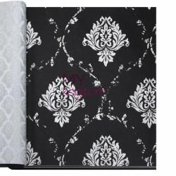 Decowall Armada Bossini 10m2 - Siyah Beyaz Damask Vinil Duvar Kağıdı Bossini 2207-05