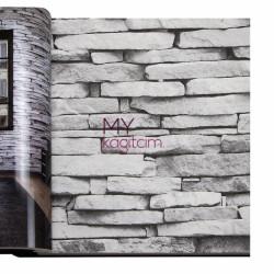 Decowall Armada Crown 16m2 - Tas Desen Yerli Duvar Kağıdı Gri 3d Kultur Tasi Açık Gri Kırık Beyaz Crown 4410-02