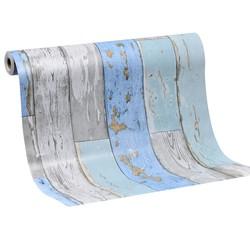 Mykağıtcım Ahşap Desen Folyolar - Yapışkanlı Folyo W0447 Mavi Eskitme Ahşap