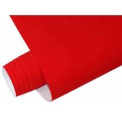 Mykağıtcım Kadife Folyolar - Yapışkanlı Folyo Ucuz Kadife kırmızı 45cmx1mt